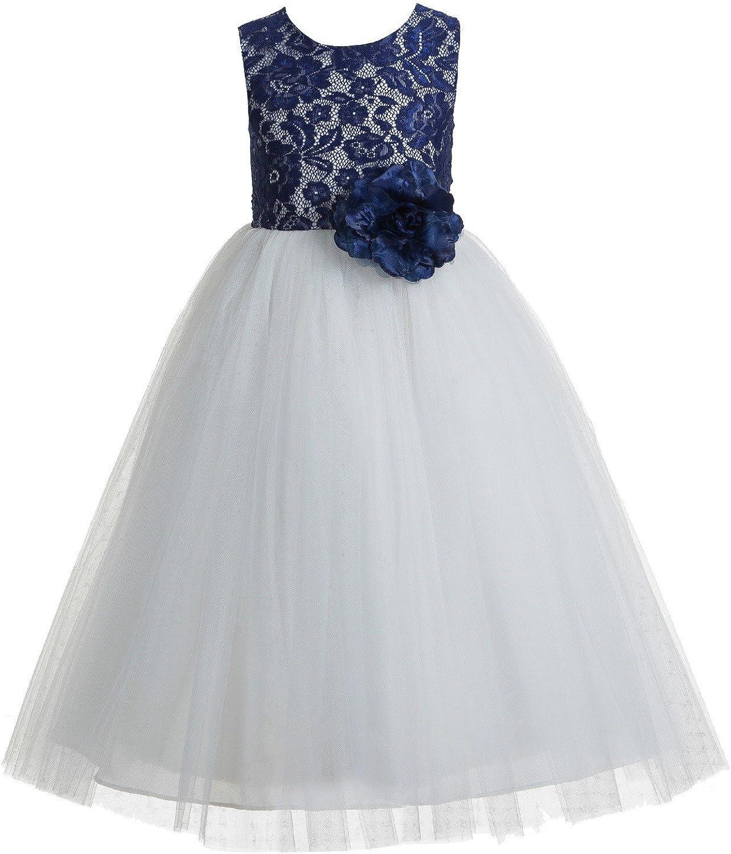 ekidsbridal Floral Lace Heart Cutout Flower Girl Dress Occasional Dresses Seasonal 172F