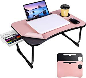 Laptop Desk for Bed, LETBEFUNA Lap Desk for Bed & Sofa, Foldable Bed Table with Storage Drawer/Cup Holder/Notebook Stand/2 Desk Mats, Laptop Tray Table for Working, Eating, Writing, Reading, Drawing