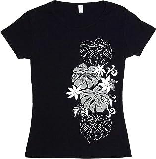 フラダンス フラ 半袖 フライス Tシャツ タヒチアンモンステラ柄 黒×グレー&白