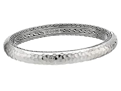 John Hardy Classic Chain Hammered Medium Oval Hinged Bangle (Silver) Bracelet