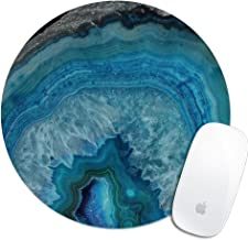 Royal Up Print Blue Geode Marble Custom Mouse Pad Office Desktop or Gaming Mouse Mat Keyboard Pad Waterproof Material Non-Slip Personalized Round Mouse pad