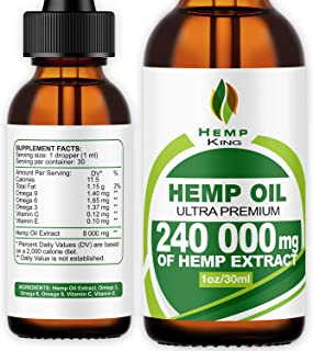 Hemp Oil Drops 240 000 mg, 100% Natural Extract, Natural Dietary Supplement, Rich in Omega 3&6 Fatty Acids for Skin & Hear...