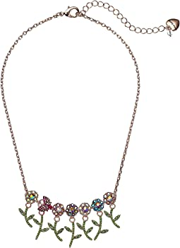 Colorful Stone Flower and Bettle Frontal Necklace