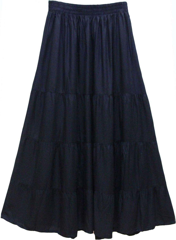 ATM Maxi Tiered Long Skirt Bohemian Elastic Waist Tie Dye Handmade Plus Size
