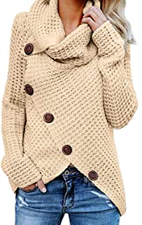 Womens Sweaters Chunky Cable Knit Turtle Cowl Neck Asymmetric Hem Wrap Sweater Pullover Tops Coat Button Details