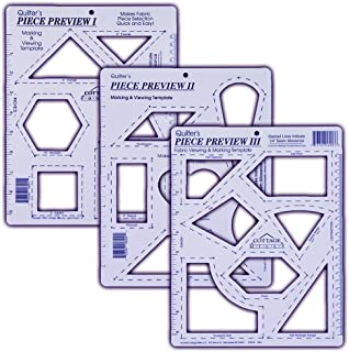 Piece Preview I, II & III – 3 pc Set – Fabric Viewing and Marking Template. Great tool for helping select fabrics and determining designs for quilting.