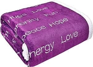 Yastouay Throw Blanket Positive Energy Healing Blanket Plush Warm Hugs Throw Super Soft Encouragement Flannel Throw Blanket Get Well Soon Gift for Men Women Patient (50 × 65 Inches, Aubergine)