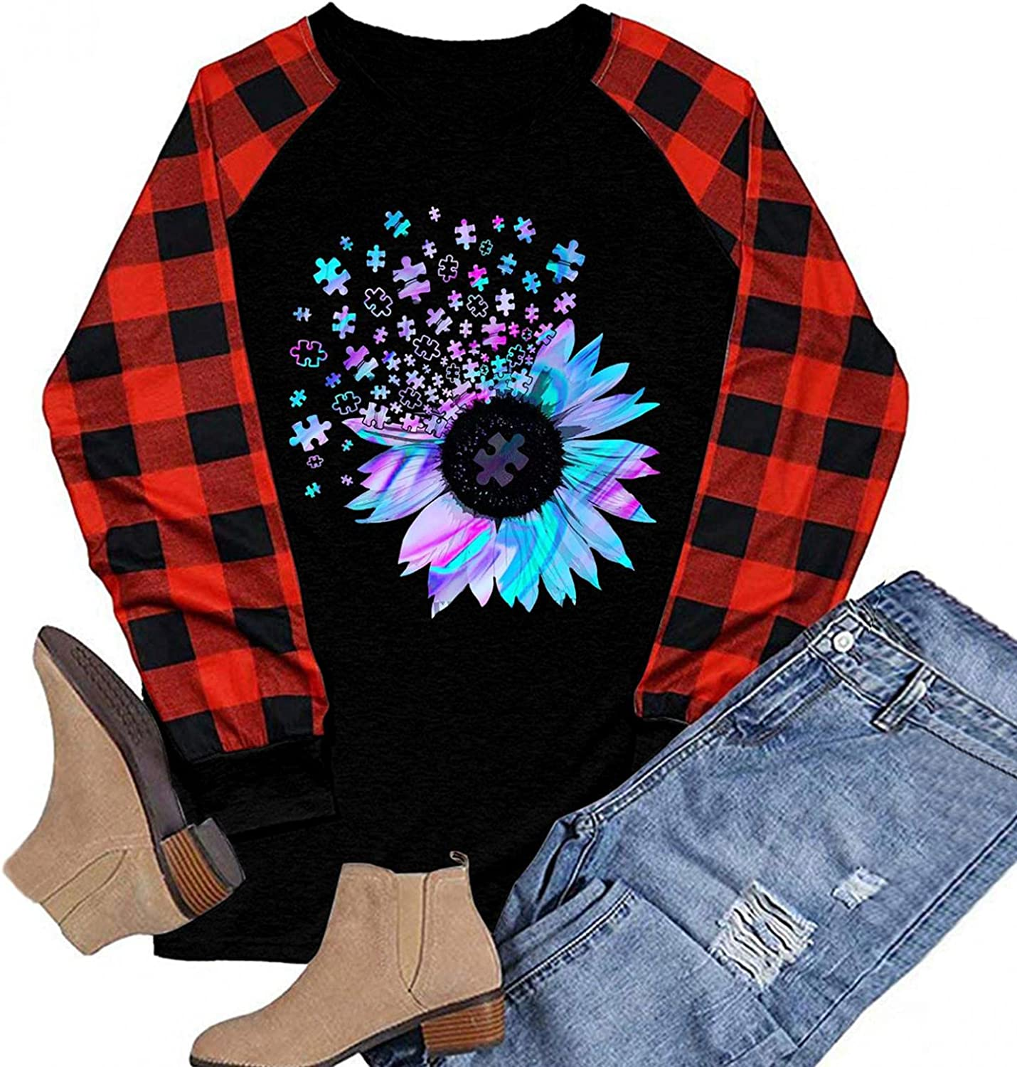 Women Casual Round Neck Long Sleeve Tunic Top Loose Fall Graphic Print Tee Pullover Plaid Color Block Shirts Blouse