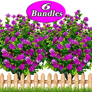 Axylex Artificial Flowers Outdoor Mums - Outside Face Plants Fake Greenery UV Resistant No Fade Faux Plastic Daffodils Bundles Shrubs Home Garden Porch Patio Decoration Office Indoor (Magenta)