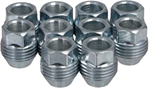 StanceMagic 10pcs Chrome Silver Lug Nuts, Metric 12x1.5 Thread, 1 inch Length, Acorn Cone Conical Taper Seat, Open End Dual Thread (External) for OEM GM Wheels Buick Cadillac Chevrolet Chevy GMC