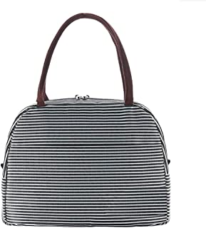 Reusable Large Lunch Bags for Women Insulated Lunch Box Soft Cooler Tote Bag Adult Lunch Holder 10L Stripes