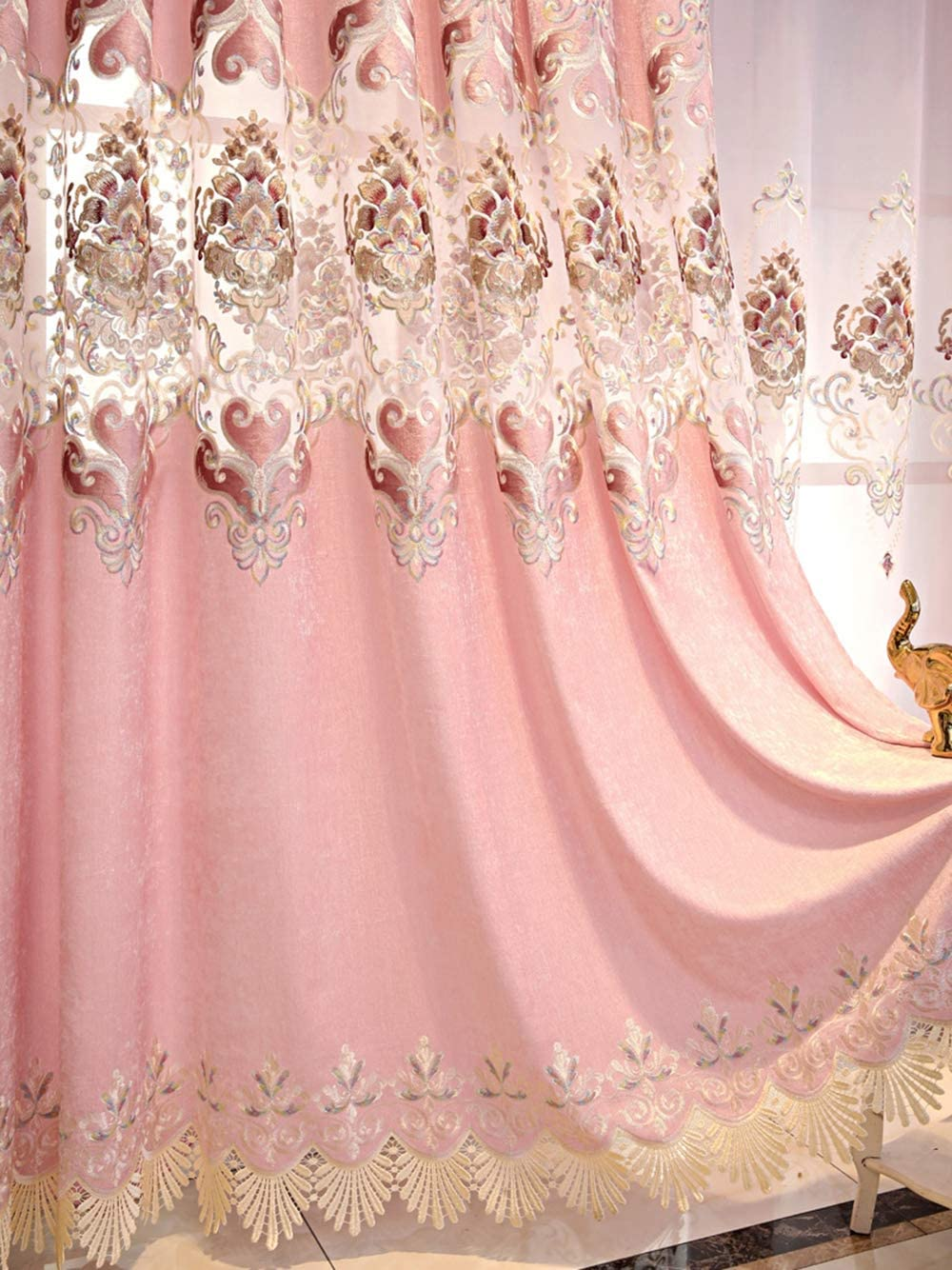 pureaqu Max 44% OFF Luxury Floral San Diego Mall Embroidered Chenille Blackout Curtain Semi