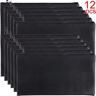 Tongnian 12 Pieces Bank Bag Money Pouch Security Bank Deposit Bag with Zipper for Cash Money, Check Wallet, Cosmetics, Tools 11x6 inch (Black +Blue) (Black)