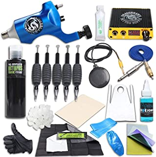 Dragonhawk Complete Tattoo Kit Rotary Space Aluminum Tattoo Machine 5oz Octopus Black Tattoo Ink Power Supply Blue Soap Needles Grips Stencil Stuff