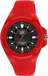 Q&Q Men's Black Dial Rubber Band Watch - VR50J003Y