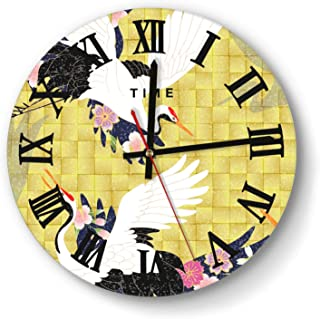 ASDGHAHDGFHNGF Home Decor Clock Funny Red-Crowned-Crane-in-The-Flowers- Wall Clock Art Decorative for Kitchen Living Room Kids Room and Coffee Decor (11 Inch)