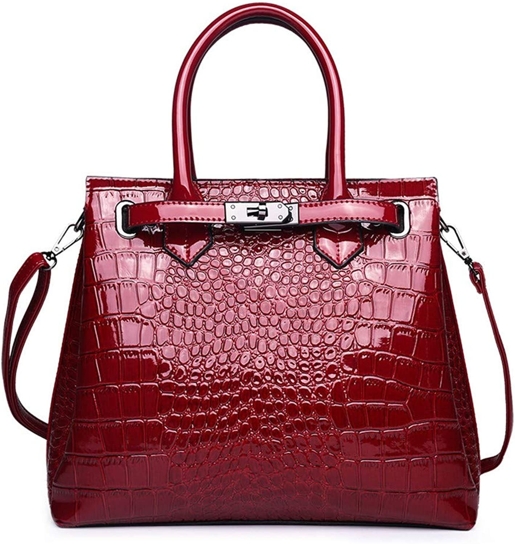 NZZNB Women's Bag Fashion Crocodile Pattern Handbag Simple Solid color Shoulder Bag Satchel Top-Handle Handbags