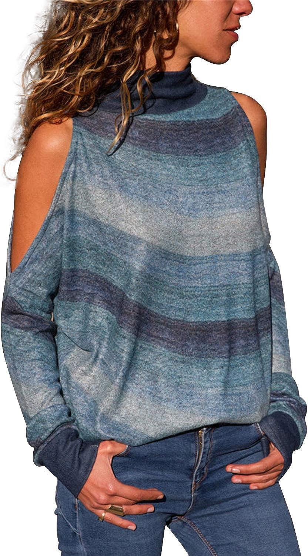 Landove Sudadera Hombro Caido Mujer Cuello Alto Boho Camisa Geometrica