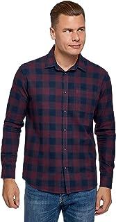 oodji Ultra Hombre Camisa de Algodón de Manga Larga