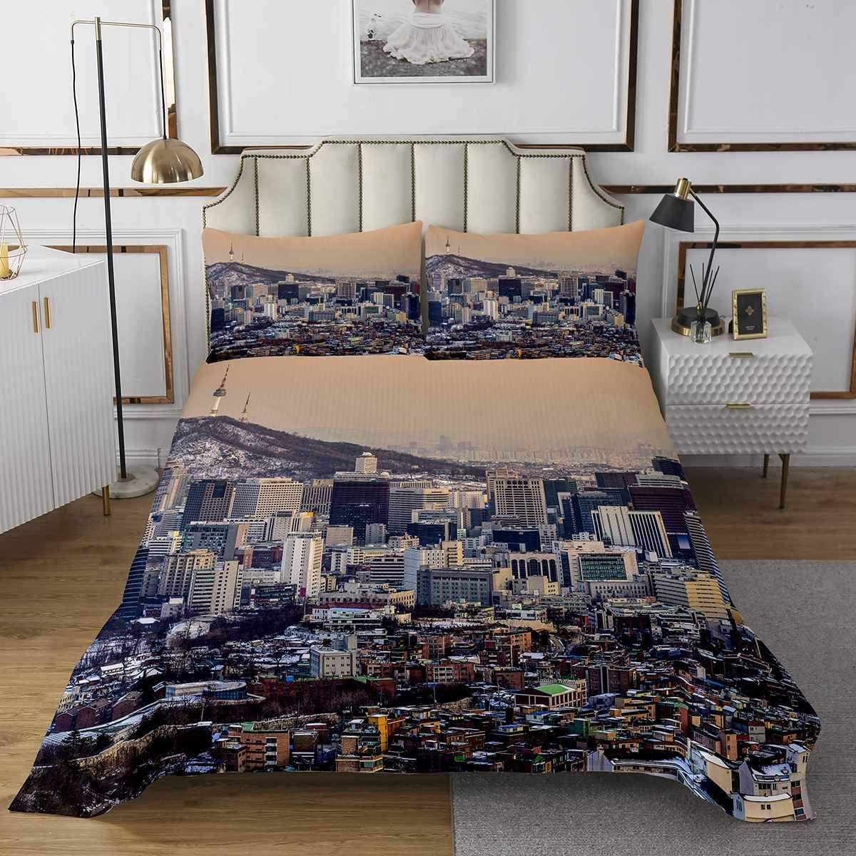 Feelyou Cityscape Department store Super-cheap Coverlet Set Modern Scenery Bedspread Bedding