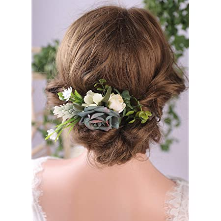Beaded hair comb hair comb with beads Eucalyptus hair comb Rustic hair comb Flower hair comb Wedding flower hair Clio