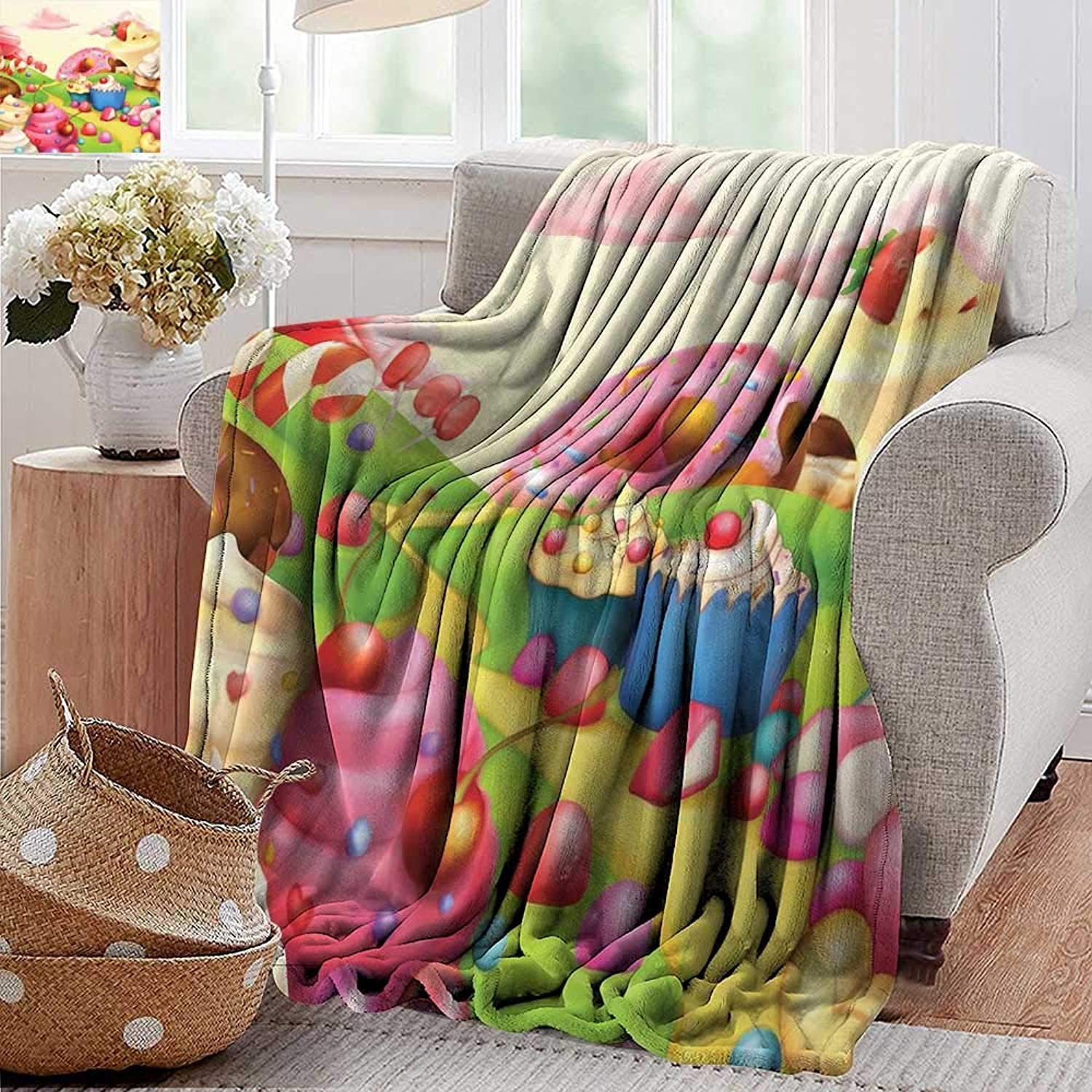 PearlRolan Cool Blanket,Modern,Yummy Donuts Sweet Land Cupcakes Ice Cream Cotton Candy Clouds Kids Nursery Design,Multicolor,300GSM,Super Soft and Warm,Durable Throw Blanket 50 x60