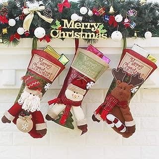 Christmas Stockings, Sugaroom Set of 3 Christmas Stockings Personalized 3D Santa Snowman Reindeer Xmas Fireplace Hanging Stocking for Christmas Decoration Xmas Holiday Party Decor Gift