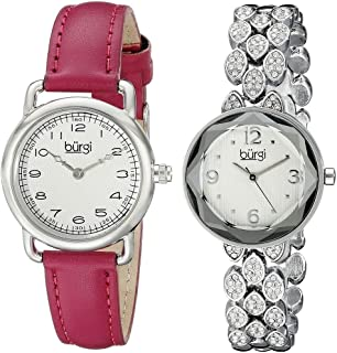 Burgi Women's White Dial Casual Watch Set - BUR133SS