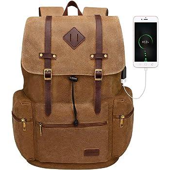 Modoker Canvas Laptop Rucksack Backpack Vintage Leather Bookbag for Men Women, Laptop Brown Travel Backpack with USB Charging Port College School Bag Fashion Vegan Daypack