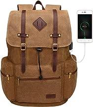Canvas Leather Rucksack Backpack Vintage Laptop Bookbag for Men Women, Modoker Travel Laptop Backpack with USB Charging Port College School Bookbag Computer Bag Vegan Daypack,Brown