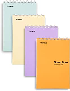Mintra Office Steno Book - 6x9 - Pastel Colors 4 Pads/Pack Narrow Ruled-Paper (Assorted Color Covers) 70 Sheets - - Notebo...