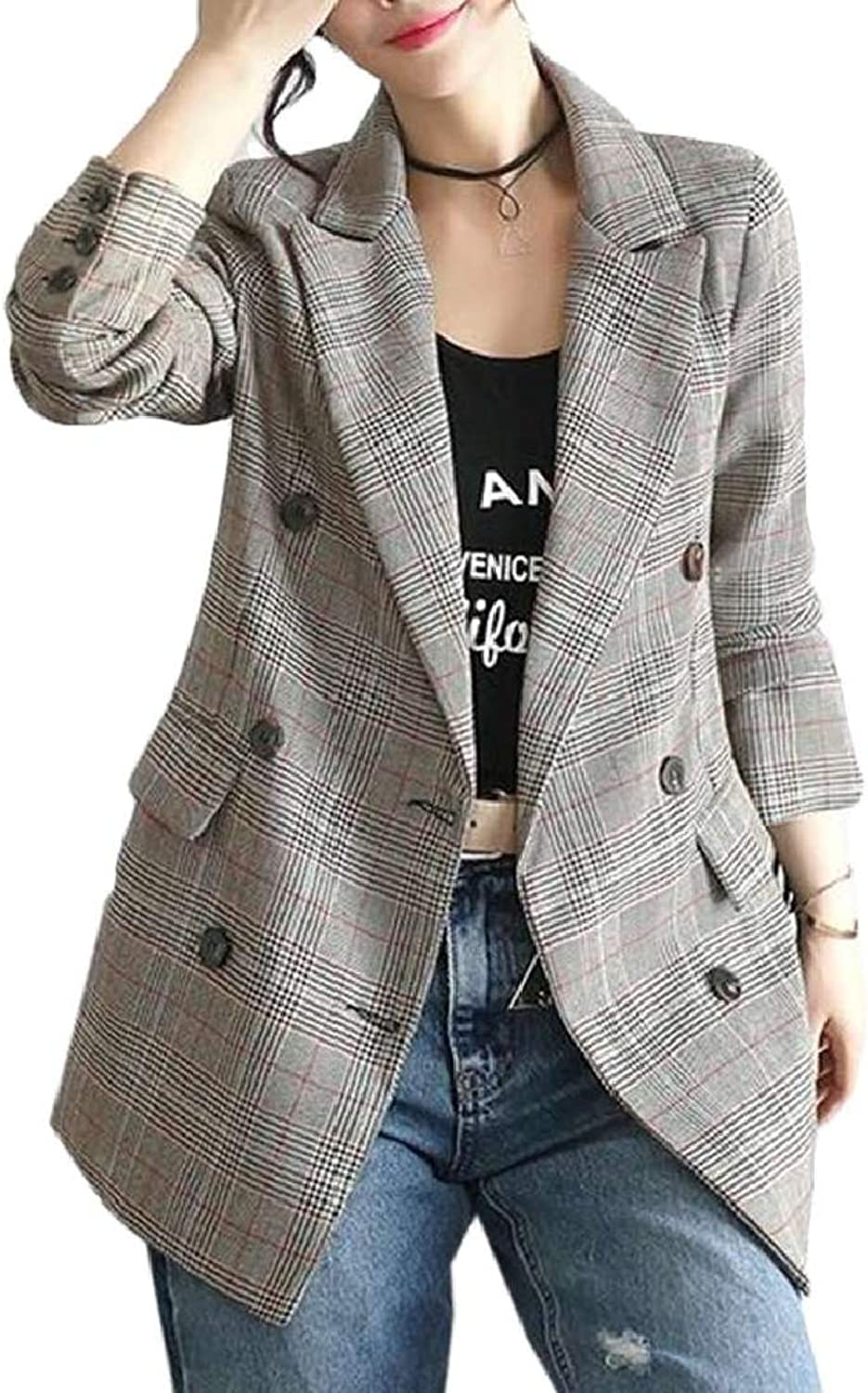 KLJR Women Plaid Lapel Slim Casual Long Sleeve Blazer
