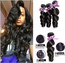 Luduna Brazilian Loose Wave Virgin Hair 3 Bundles 8a 100% Unprocessed Virgin Human Hair Natural Color (12 14 16, Natural color)