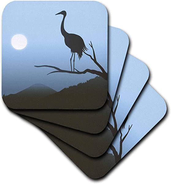 3dRose Boehm Graphics Bird A Heron In Silhouette Against A Blue Background At Moonrise Set Of 4 Coasters Soft Cst 203066 1