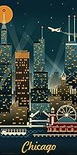 Culturenik Lantern Press Chicago Illinois Retro Skyline Illustrated Decorative Travel City Art Print (Unframed 12x24 Poster)