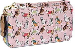 Ecohaso Women Vintage Cat Double Wallet Zipper Purse Clutch Credit Card Holder Leather Purse Bag