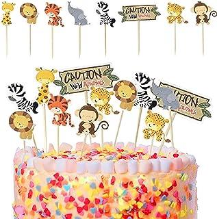 Sunshine smile kuchendeko Tiere Geburtstag,lefant Zebra Giraffe Krokodil,Geburtstag tortendeko Junge,Tier Kuchendeckel Topper,Muffin deko,kuchendeko Tiere 24 Stück…