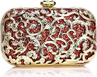Evening Wedding Sequins Clutch Handbag Bag Dress Dinner Bag Small Purse Bridesmaid Handbag for Women,red,5.5 * 10 * 17cm