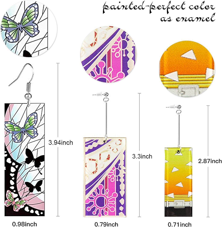 9 Pairs Demon Slayer Tanjiro Anime Earrings Kimetsu No Yaiba Acrylic Hanafuda Earrings Cosplay Accessory Prop for Women and Men