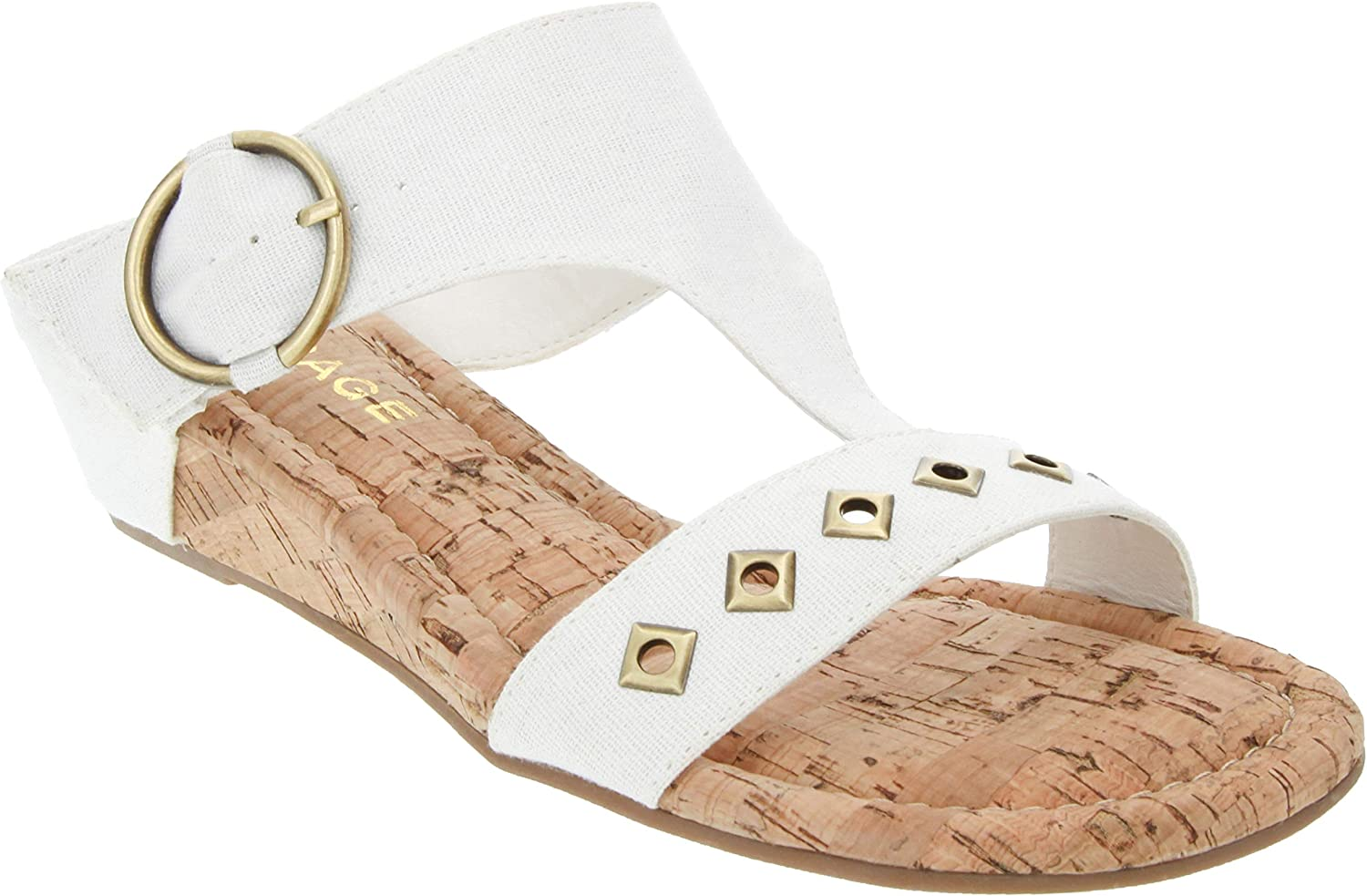 Rampage Women's Simara T Bar Cork Wedge Sandals with O Ring Buckle and Studs
