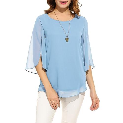 f45d153b82c Hount Women Casual Loose Pullover Chiffon Blouse 3 4 Sleeve Solid Chiffon  Shirt