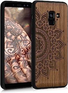 kwmobile 1x Funda de Madera Madera de Nogal Compatible con Samsung Galaxy A8 (2018) Carcasa Sol Naciente