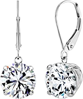Solstice 10K White or Yellow Gold 8mm Round Leverback Dangle Earrings Made with Swarovski Zicornia