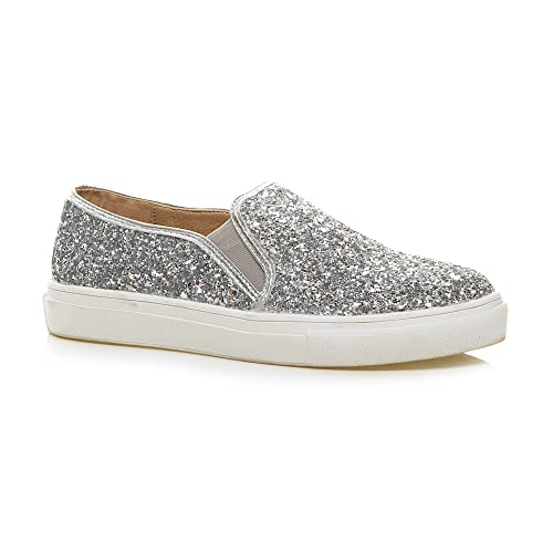 a49f145d183c Womens Ladies Casual Slip on Glitter Plimsolls Trainers Skater Shoes  Sneakers Size