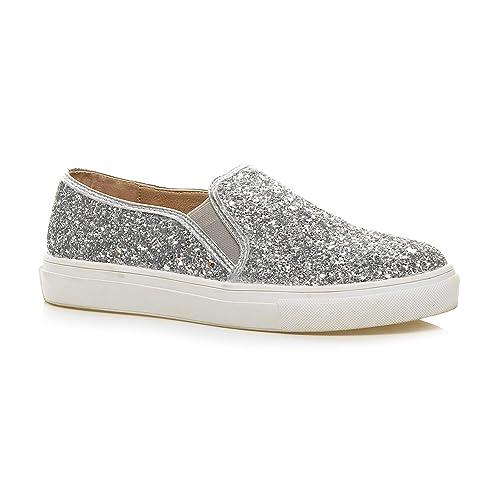 37df79eeee59 Womens Ladies Casual Slip on Glitter Plimsolls Trainers Skater Shoes  Sneakers Size