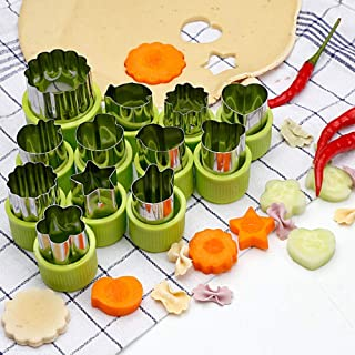 Stainless Steel Vegetables Fruit Shape Cutters Set Kid Food Mold Mini Cute Sandwich Cookie Mould and Biscuit Cutter (12 Pi...