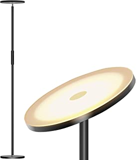 Addlon LED Torchiere Floor Lamp - Tall Standing Modern Lamp Pole Light for Living & Office - Stepless Dimmable Uplight with Wall Switch - Black