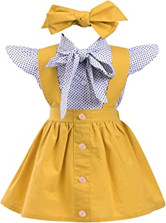 Kids Baby Girl 3pcs Outfits Polka Dot Ruffles Sleeve Bowknot Shirt Top+Suspender Braces Skirt Overalls with Headband