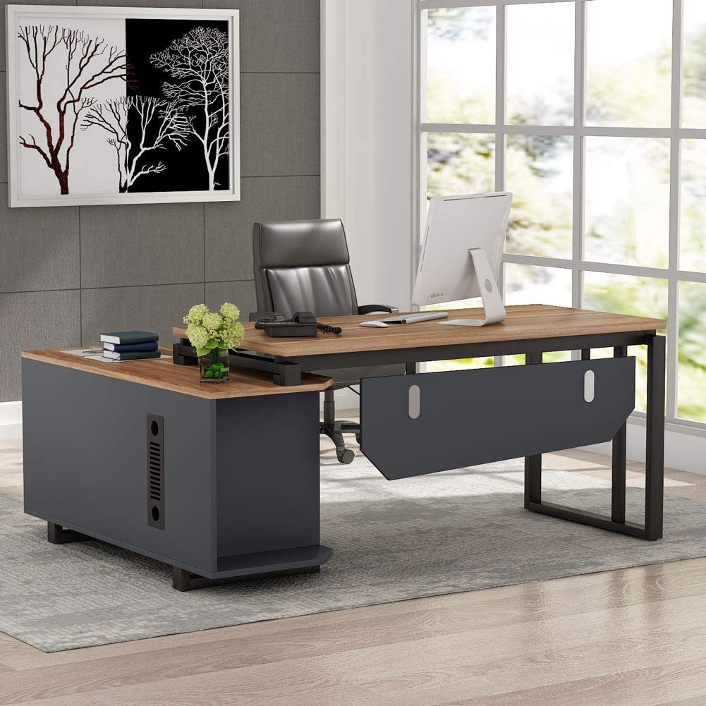 Max 89% 5 popular OFF Tribesigns L-Shaped Desk 55 Inch Executive with Fil Office