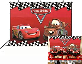 Botong 7x5ft Cartoon Car Mobilization Birthday Party Themed Backdrops Car Racing Story Black White Grid Red Photo Backgrounds for Photography Birthday Party Banner